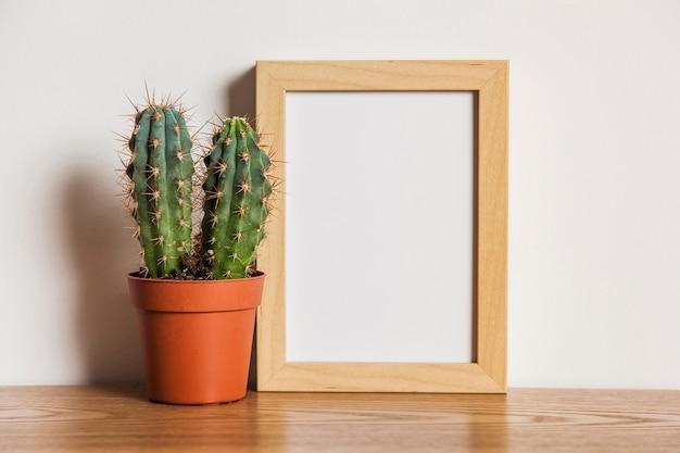 Composition florale avec cadre et cactus