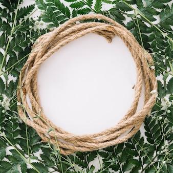 Composition florale circulaire avec corde