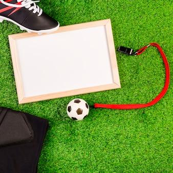 Composition de football avec tableau blanc