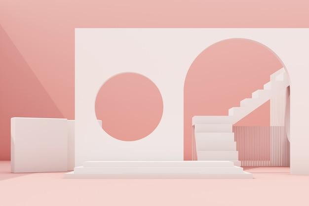 Composition de forme géométrique avec escalier et arc sur rendu 3d rose
