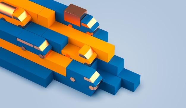 Composition de la géométrie logistique dans des boîtes de couleur bleue et collection de véhicules de modèle de camion de voiture à savoir