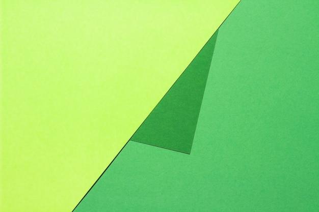 Composition avec de grandes feuilles de papier aux couleurs vertes.