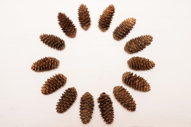 Composition d'hiver, cadre composé de pommes de pin sur fond blanc