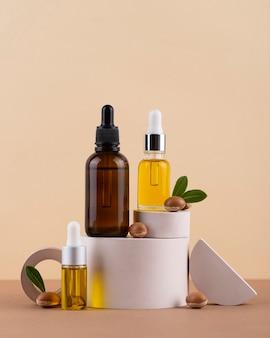 Composition d'huile d'argan saine vue de face