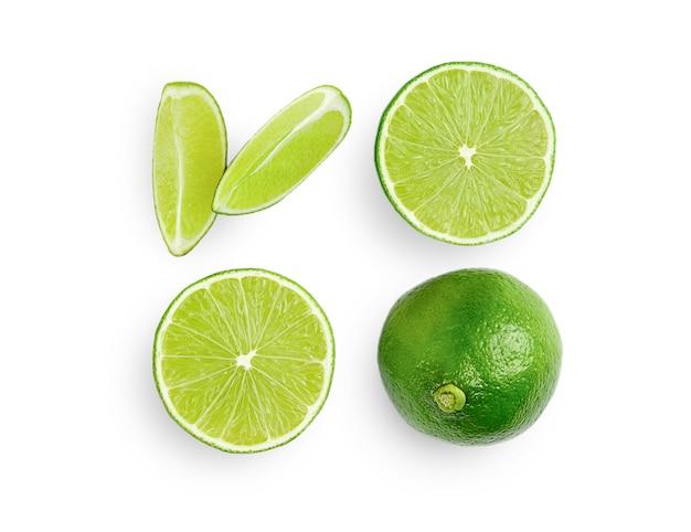 Composition isolée de fruits citron vert sur une surface blanche. photo de haute qualité
