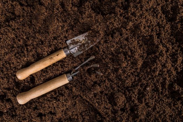 Composition de jardinage à plat avec fond