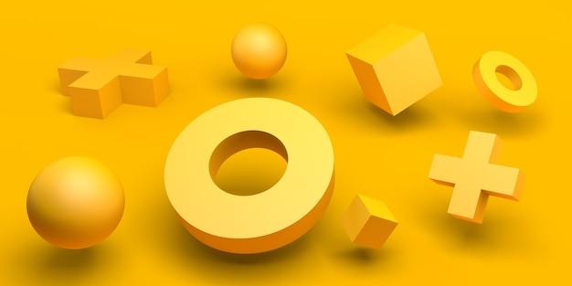 Composition jaune abstrait avec des cubes de sphères de cercles et des cônes de croix