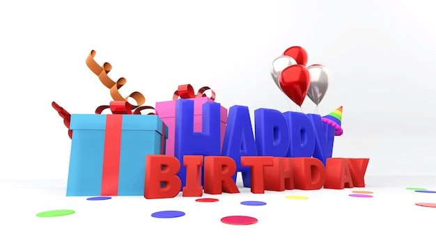 Composition de joyeux anniversaire avec présent et ballons