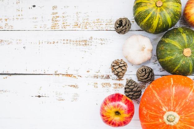 Composition avec des légumes et des pommes de pin