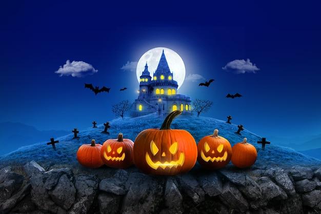 Composition de lune de nuit d'halloween avec château vintage de citrouilles rougeoyantes