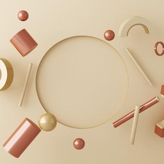 Composition de maquette de texture or et verre de forme géométrique avec podium de couleur crème marron pour le produit