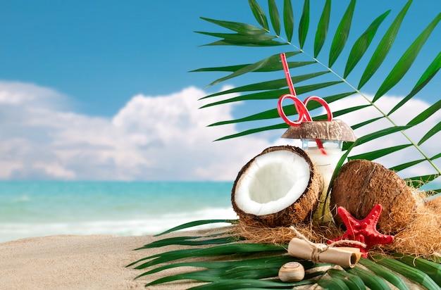 Composition marine de noix de coco et de feuilles de palmier