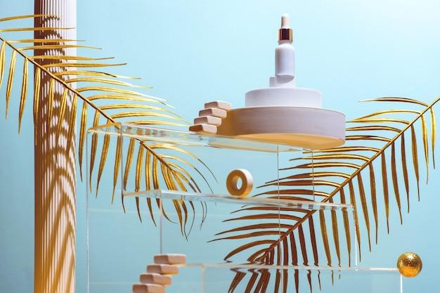 Composition monumentale à l'huile cosmétique, passerelles, escaliers, feuilles de palmier