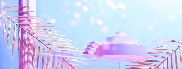 Composition monumentale avec des passerelles, des escaliers, des feuilles de palmier et des formes géométriques aux couleurs bleu et or, concept de beauté, maquette.