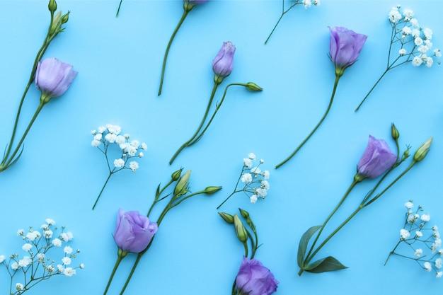 Composition de motif de fleurs sur une table bleue