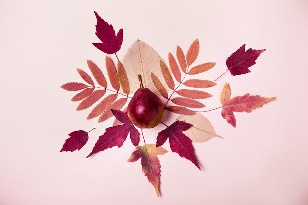 Composition naturelle de feuilles roses sèches. poire sur fond rose. concept de récolte d'automne.
