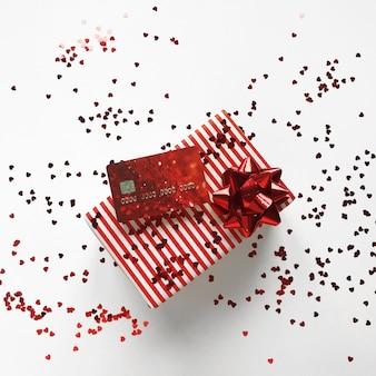 Composition de noel avec boite cadeau