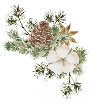Composition de noël avec des branches de pin et de sapin, du coton, une fleur d'anis et un cône.