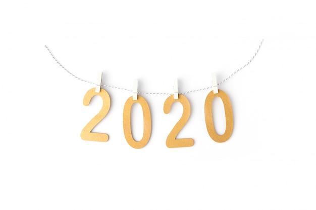 Composition de noël avec guirlande de texte 2020 sur blanc
