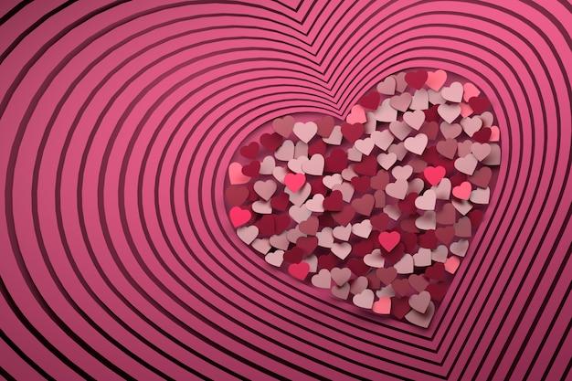 Composition avec de nombreuses formes de coeur roses répétitives