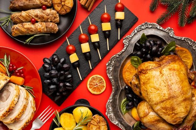 Composition de nourriture de noël à plat