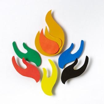 Composition olympique de style papier vue de dessus