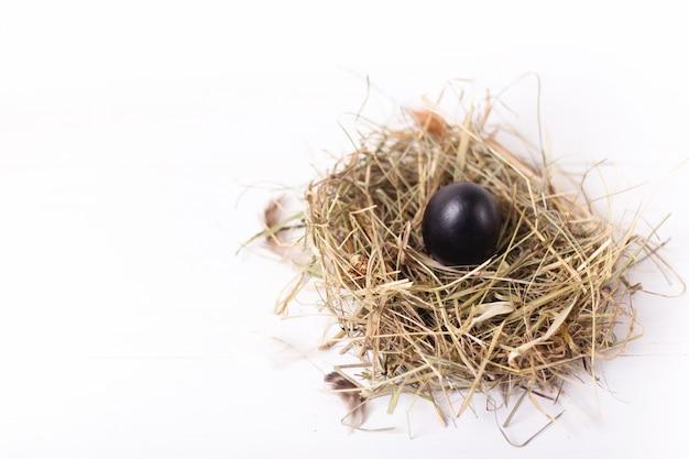 Composition de pâques avec un œuf de poule noir dans un nid de foin sur une table en bois blanc