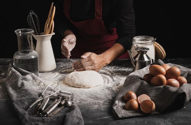 Composition de la pâte à pétrir vue de face