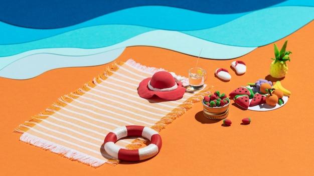 Composition de plage d'été en différents matériaux