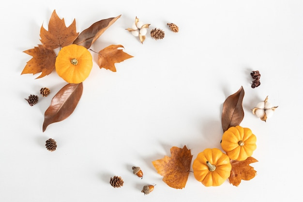 Composition à plat d'automne. citrouilles, feuilles séchées et noix. automne, concept d'automne. maquette, vue de dessus, espace copie