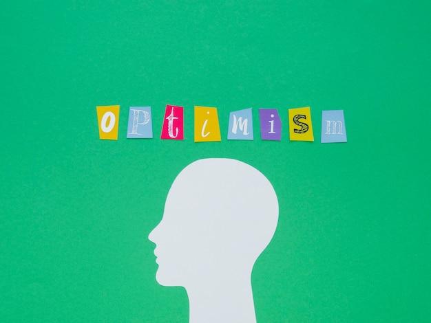 Composition plate laïque d'éléments de concept d'optimisme