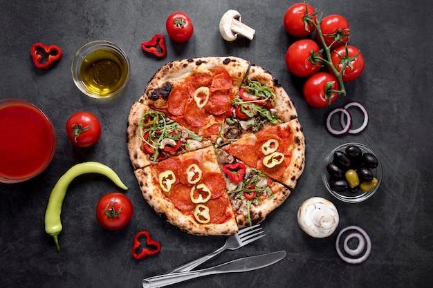 Composition de plats savoureux à plat