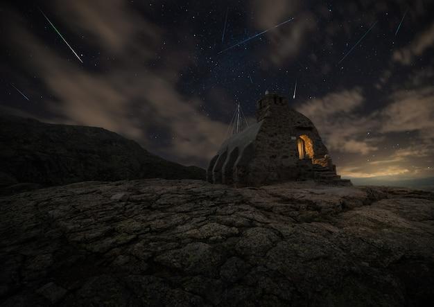 Composition de la pluie d'étoiles des perséides du refuge de zabala