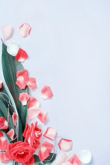 Composition de printemps avec pétales et roses sur fond pastel