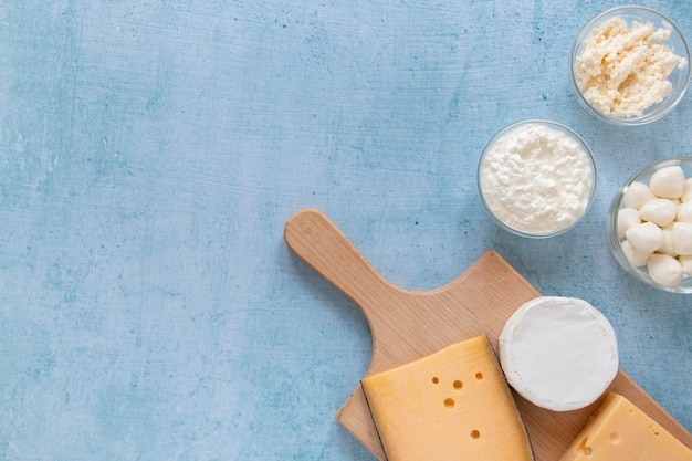 Composition des produits laitiers vue ci-dessus