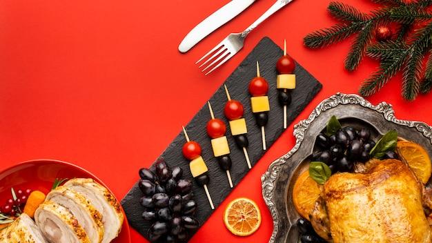Composition de repas de noël avec espace copie