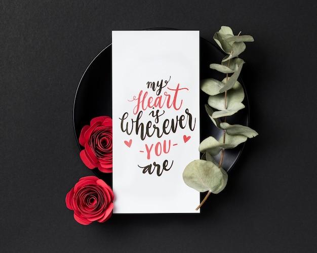 Composition de la saint-valentin avec texte