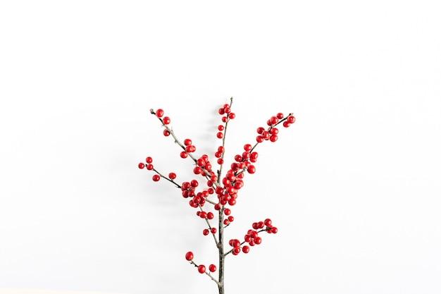Composition saisonnière minimale. modèle de branche avec des baies rouges sur blanc isolé