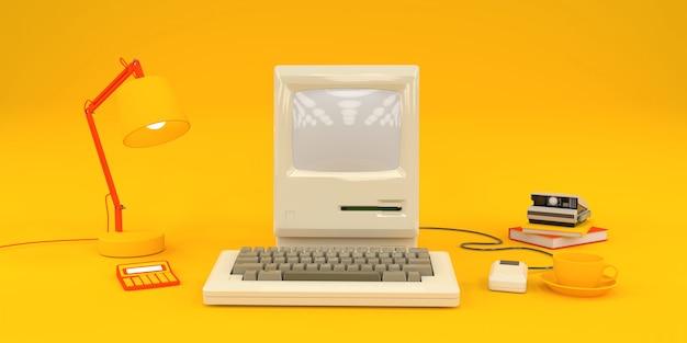 Composition simple avec vieil ordinateur et livres