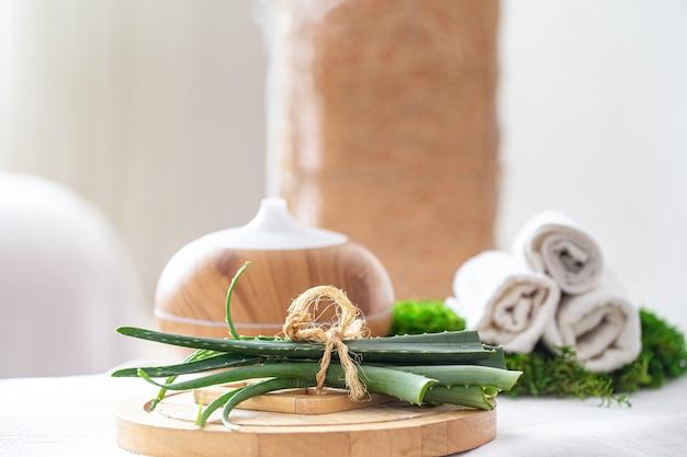 Composition de spa avec l'arôme d'un diffuseur d'huile moderne avec des produits de soins corporels. serviettes blanches torsadées et aloe vera. le concept de bien-être pour le corps et la santé.