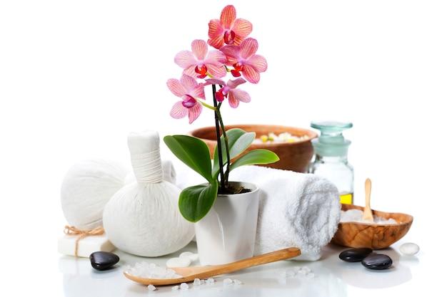 Composition de spa avec belle orchidée rose sur blanc