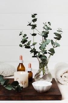 Composition de spa avec bougie allumée et plante