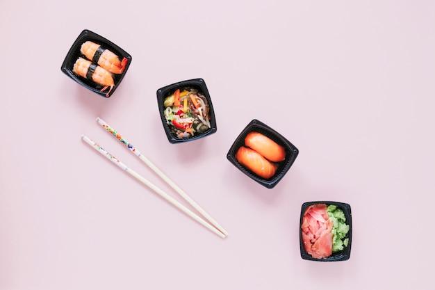 Composition de sushis plats