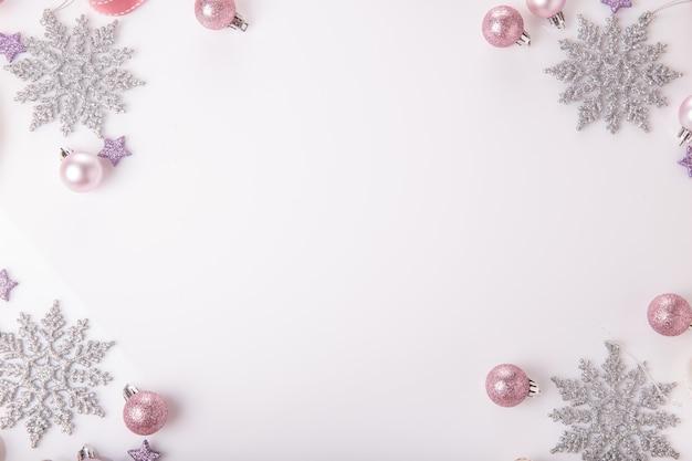 Composition de vacances de noël festive creative gold silver pattern noël rose décoration boule de vacances avec...