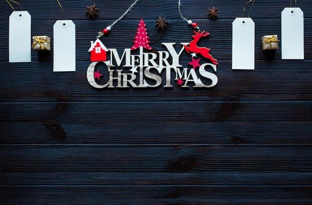 Composition de vacances de noël sur fond en bois sombre,