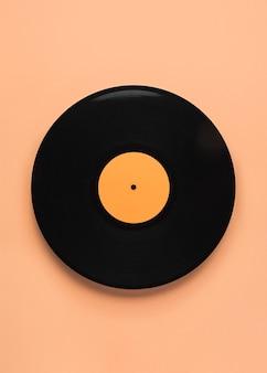 Composition de vinyle noir vue de dessus