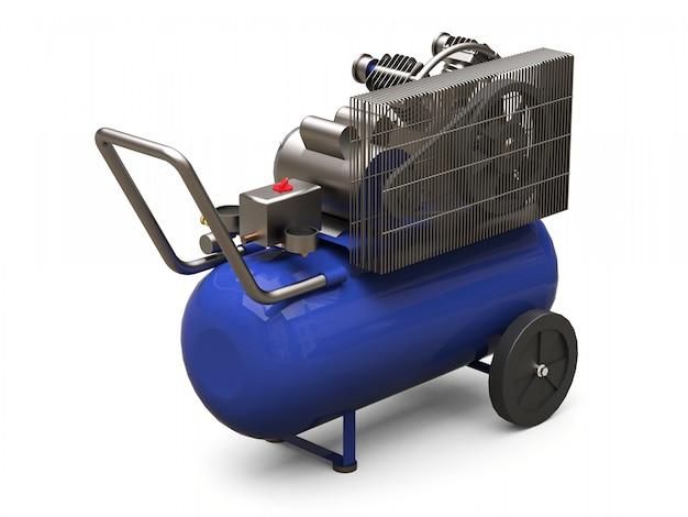 Compresseur d'air horizontal bleu isolé sur une surface blanche