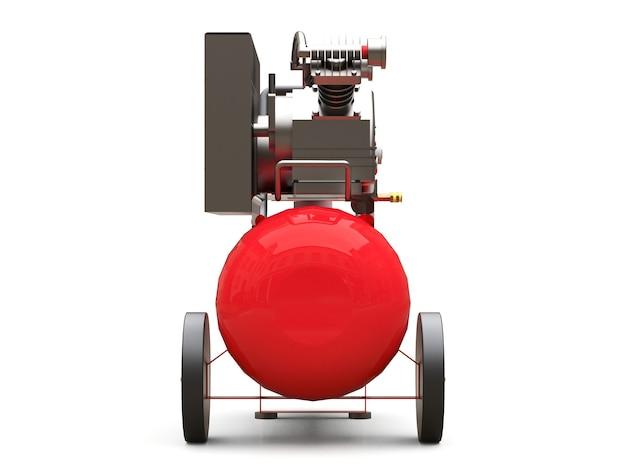 Compresseur d'air horizontal rouge isolé sur une surface blanche