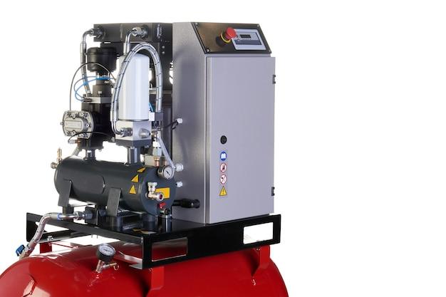 Compresseur d'air. matériel et outils professionnels. appareils industriels. fond isolé.