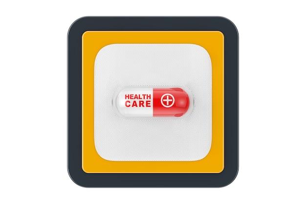 Comprimé de capsule de médicament médical avec signe de soins de santé sous blister comme bouton d'icône web de point de contact sur un fond blanc. rendu 3d